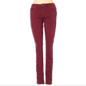 [a48-11]  Izzue  paneled red skinny jeans